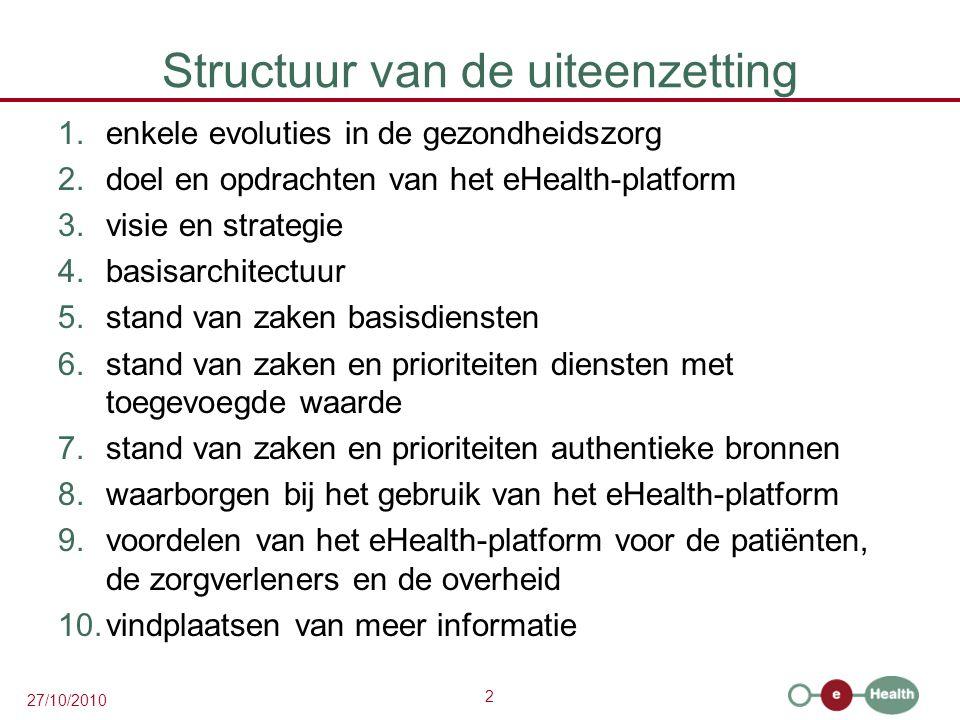 3 27/10/2010 1.Enkele evoluties in de gezondheidszorg  meer chronische zorg i.p.v.