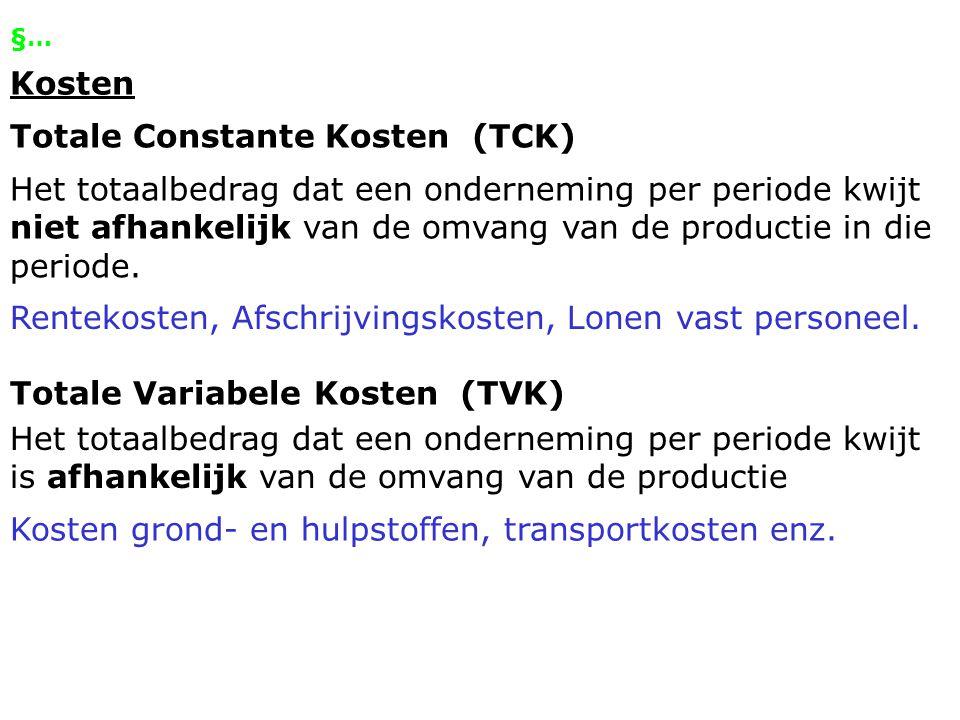 §… Proportioneel variabele kosten Variabele kosten per product die bij elke productieomvang hetzelfde zijn.