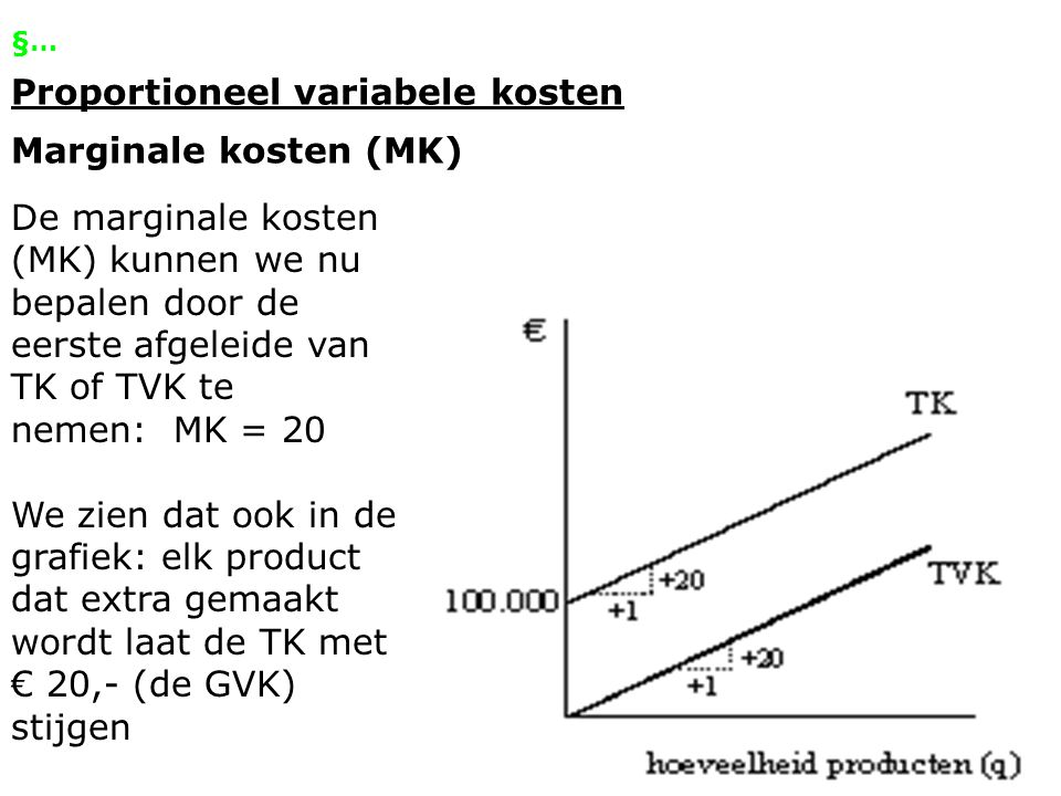 §… Niet-proportioneel variabele kosten Variabele kosten per product die bij elke productieomvang anders zijn.
