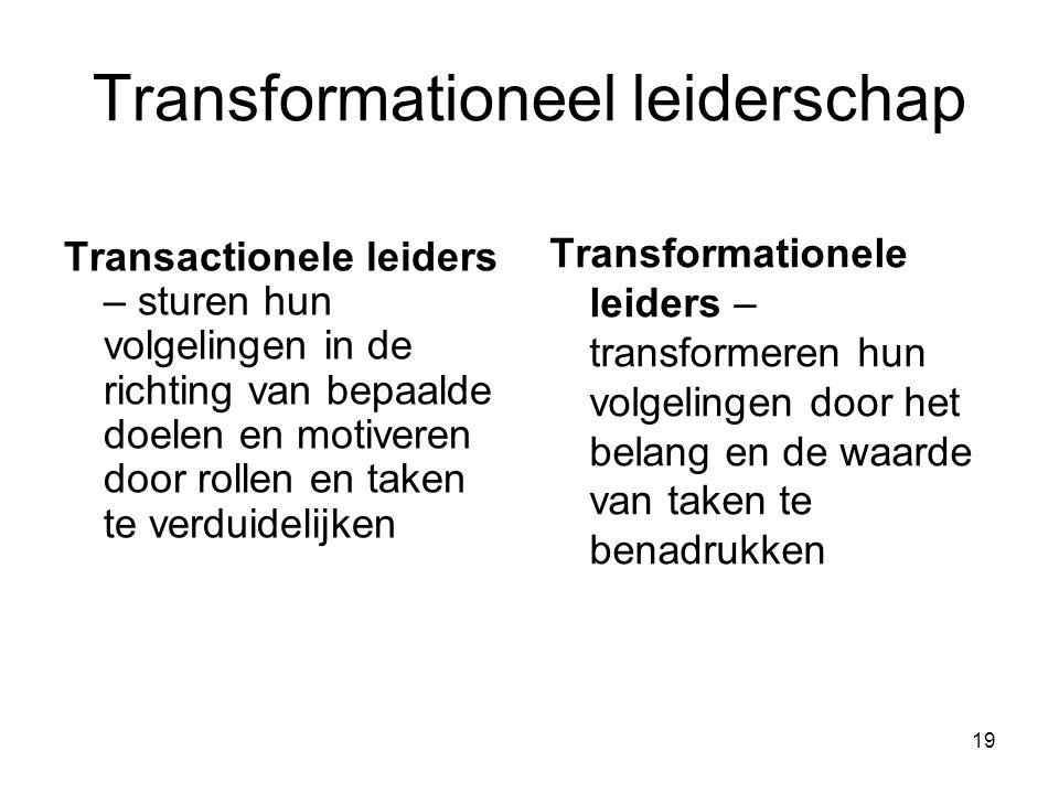 20 Transformationele leiders 1.Besteden aandacht aan zorgen en ontwikkelingsbehoeften van individuele volgelingen.