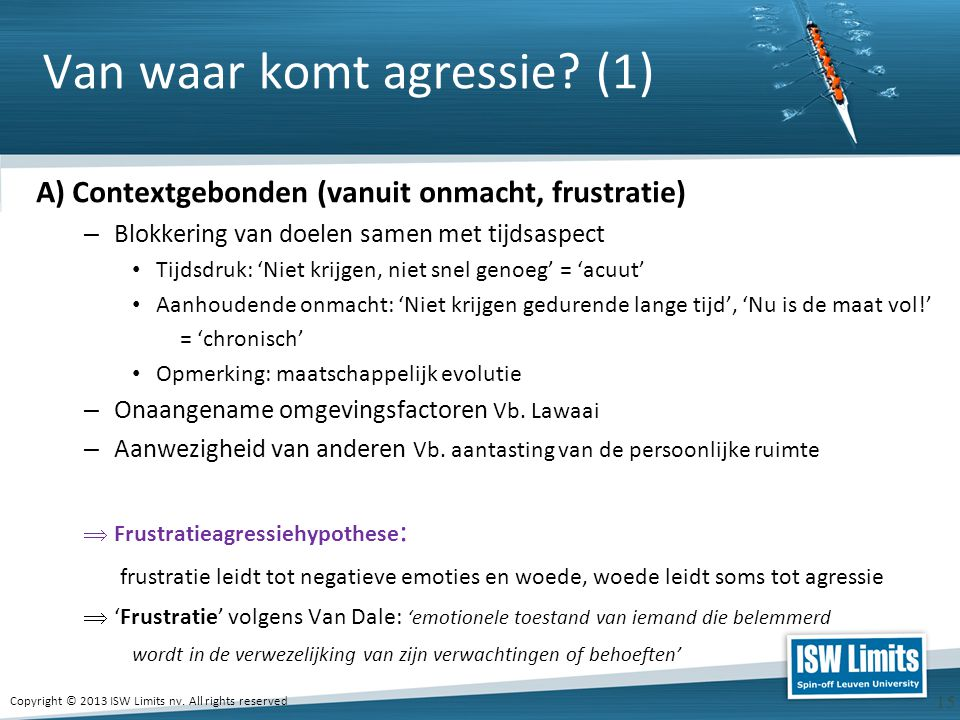 Copyright © 2013 ISW Limits nv.All rights reserved 16 Van waar komt agressie.