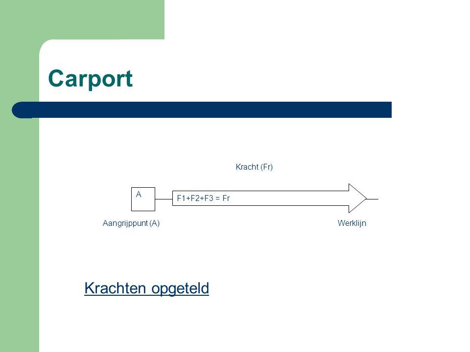 Carport F1=1kN F2=1kN F3=1kN Fr = F1+F2+F3 = 3kN KRACHTEN LANGS DEZELFDE WERLIJN MAG MEN BIJ ELKAAR OPTELLEN