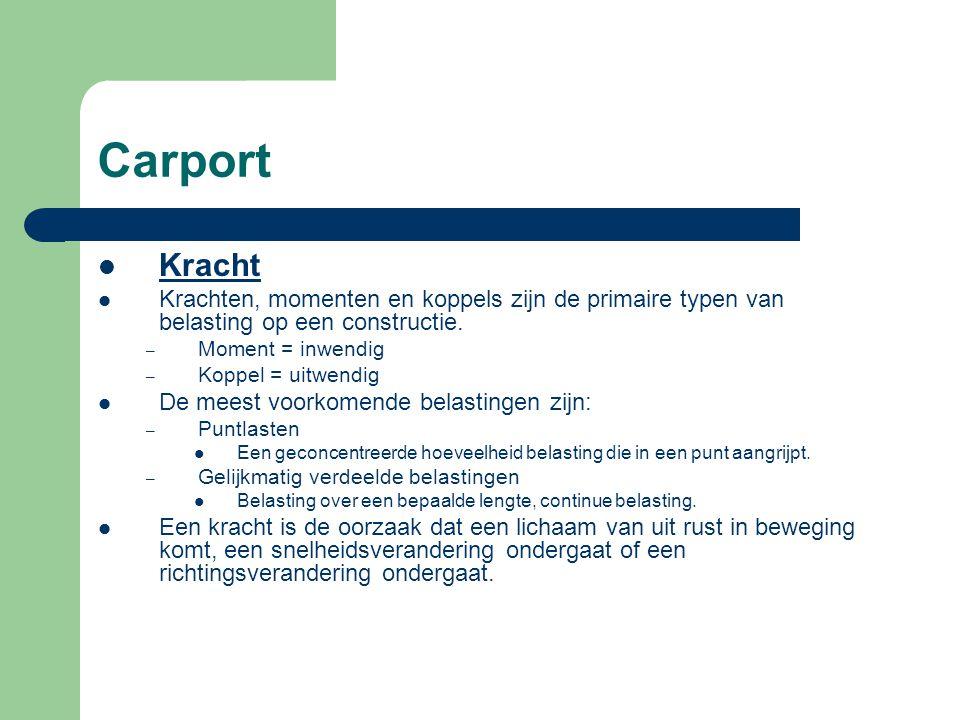 Carport Kracht (vervolg) Een kracht is een grootheid met: – Een grootte – Een richting – Een aangrijpingspunt.