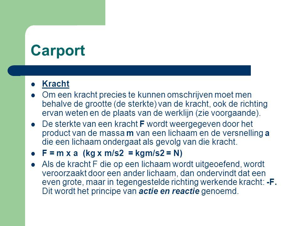 Carport Een massa ondervindt in het zwaartekrachtveld van de aarde een kracht, de zwaartekracht.