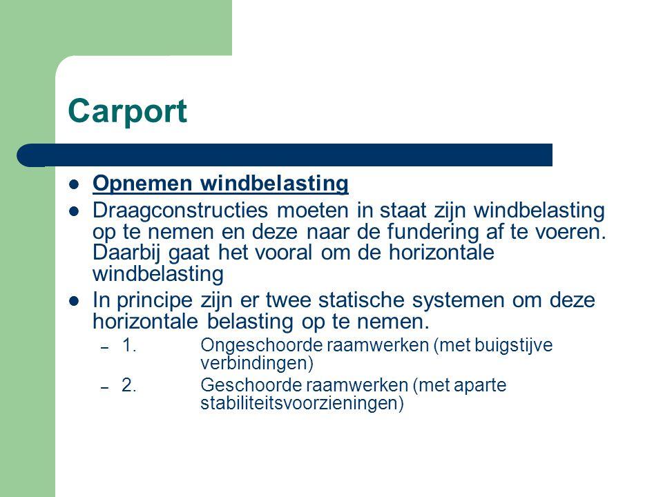 Carport Bij een geschoord raamwerk neemt het raamwerk hoofdzakelijk alle verticale belastingen op en zijn er aparte constructiedelen (zogeheten schorende elementen) die de horizontale belastingen opnemen.