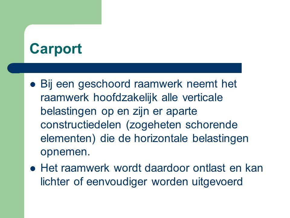 Carport Windverbanden, in de vorm van schoren of vakwerken, nemen de horizontale belasting op door middel van normaalkrachten.