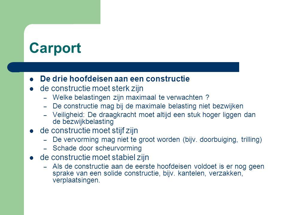 Carport Het ontwerp van constructie moet voldoen aan Voldoende veiligheid.