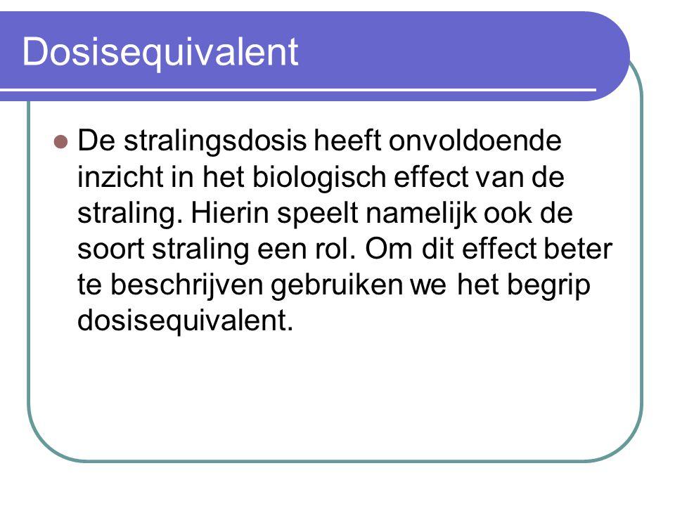 Dosisequivalent Het dosisequivalent H is de stralingsdosis vermenigvuldigd met de weegfactor die het effect van de geabsorbeerde straling beschrijft.