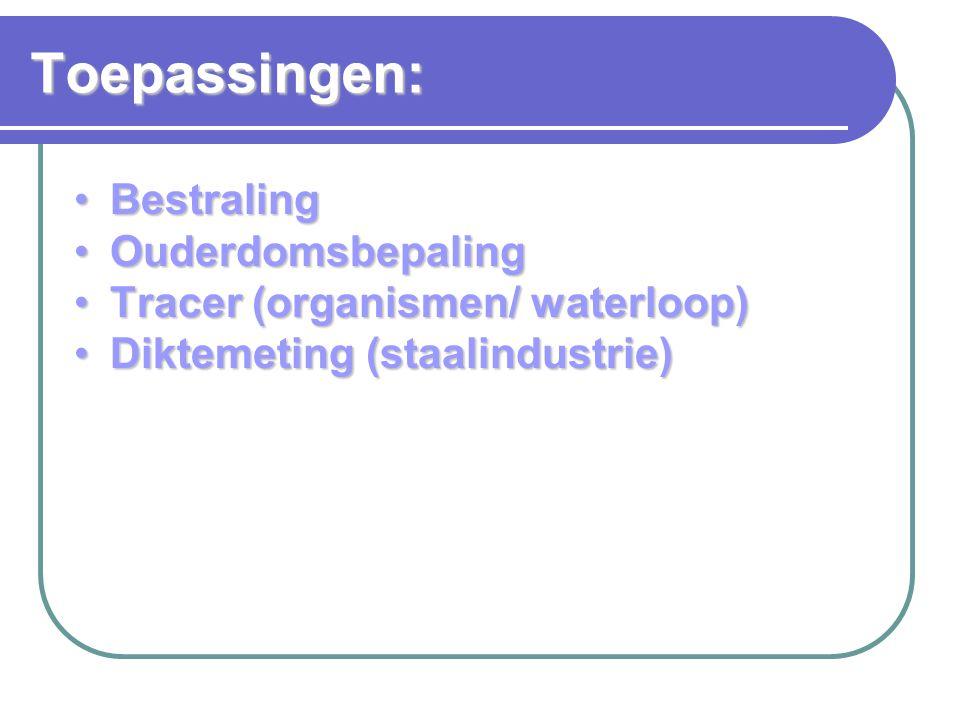 Ouderdomsbepaling: Vorming C-14 in de atmosfeer: Vorming C-14 in de atmosfeer: Verval C-14 (halfwaardetijd 5730 j): Verval C-14 (halfwaardetijd 5730 j): In dode organische stof daalt [C-14].