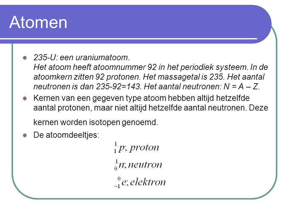 α, β,γ-straling α-straling bestaat uit heliumkernen β-straling bestaat uit elektronen γ-straling