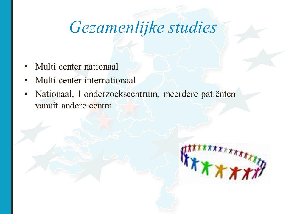 Multicenter nationaal Ondersteuning vanuit de NCFS → Nederlands CF research netwerk Stuurgroep en werkgroep Doel: –alle mensen met CF in NL kunnen deelnemen aan onderzoek –hoogwaardige data verzamelen (kwaliteit ↑) –waar mogelijk financiële ondersteuning bieden