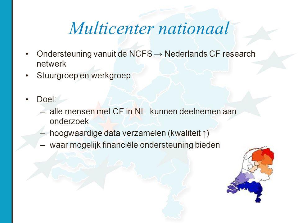 Nederlands CF research netwerk Stuurgroep ( 2 vertegenwoordigers per centrum, 2x per jaar vergaderen) –Bevorderen van samenwerking –Bepalen van beleid –Prioriteiten van studies –Waarborgen van kwaliteit van de uitvoering van de studies in alle centra