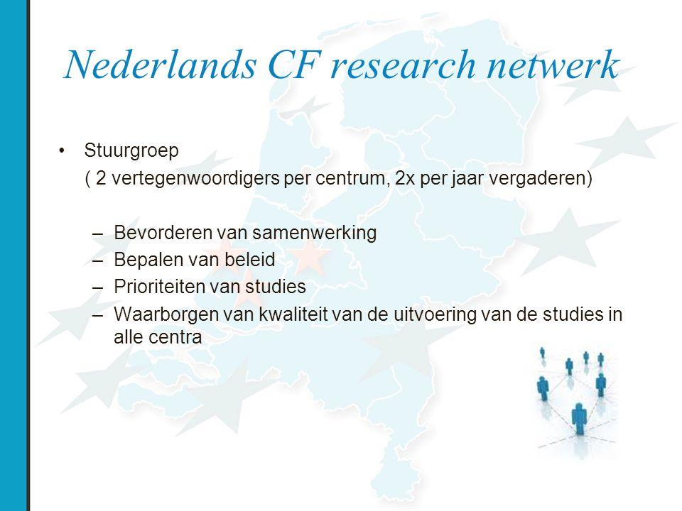 Nederlands CF research netwerk Werkgroep research coordinatie (2 vertegenwoordigers per centrum, 2x per jaar vergaderen) –Afstemmen voorbereiding, uitvoering en afsluiten studies –Monitoren / verbeteren kwaliteit van de uitvoering –Monitoren / verbeteren kwaliteit data verzamelen voor registratie