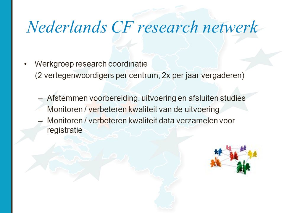 Projecten Nationale projecten –Pseudomonasstammen –Schimmelbank –Insuline project –PREVEC studie –Groeistudie –CF registratie Internationale projecten –Vertex809 –PTC124 –Tides studie