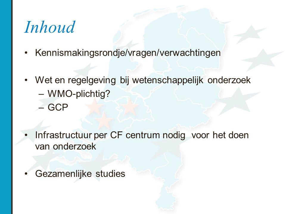 Wet- en regelgeving medisch wetenschappelijk onderzoek Nationaal: Burgerlijk recht WOG WMO WBIG KWZ WBP WGBO Internationaal: Directives EMEA Clinical trial directive ( WMO) Data protection (WBP) Medicine (WOG) ICH GCP guidelines (Good Clinical Practice)