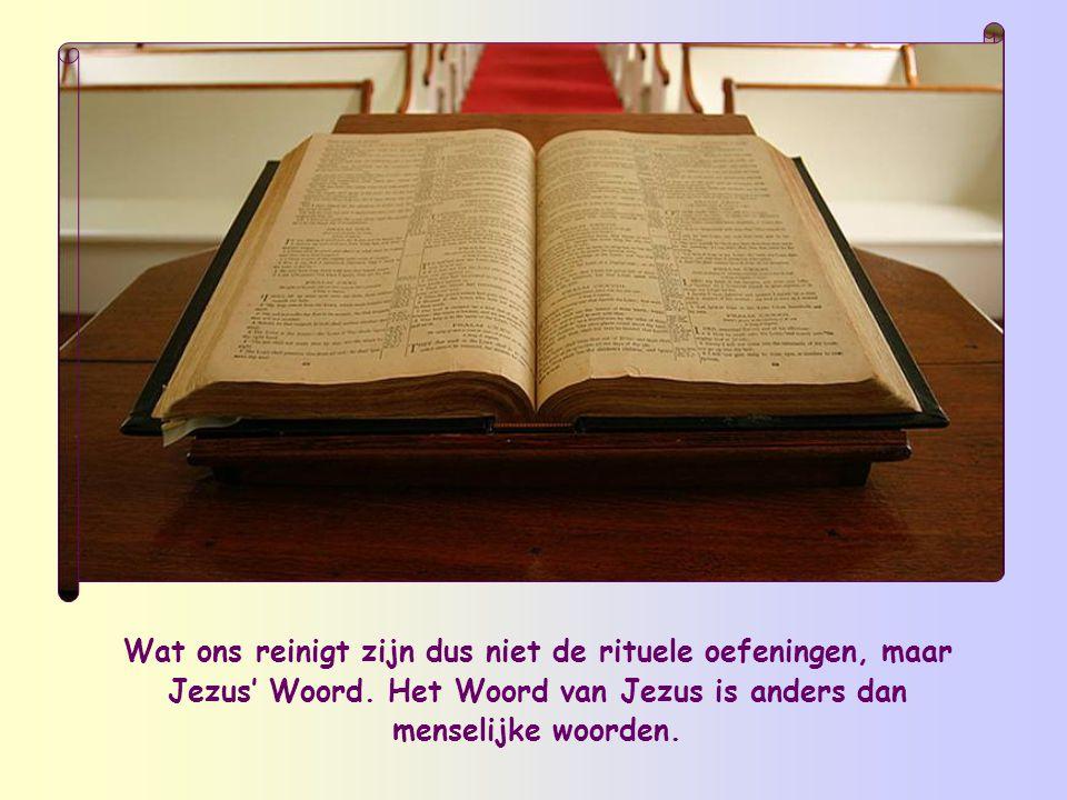 Wat ons reinigt zijn dus niet de rituele oefeningen, maar Jezus' Woord.