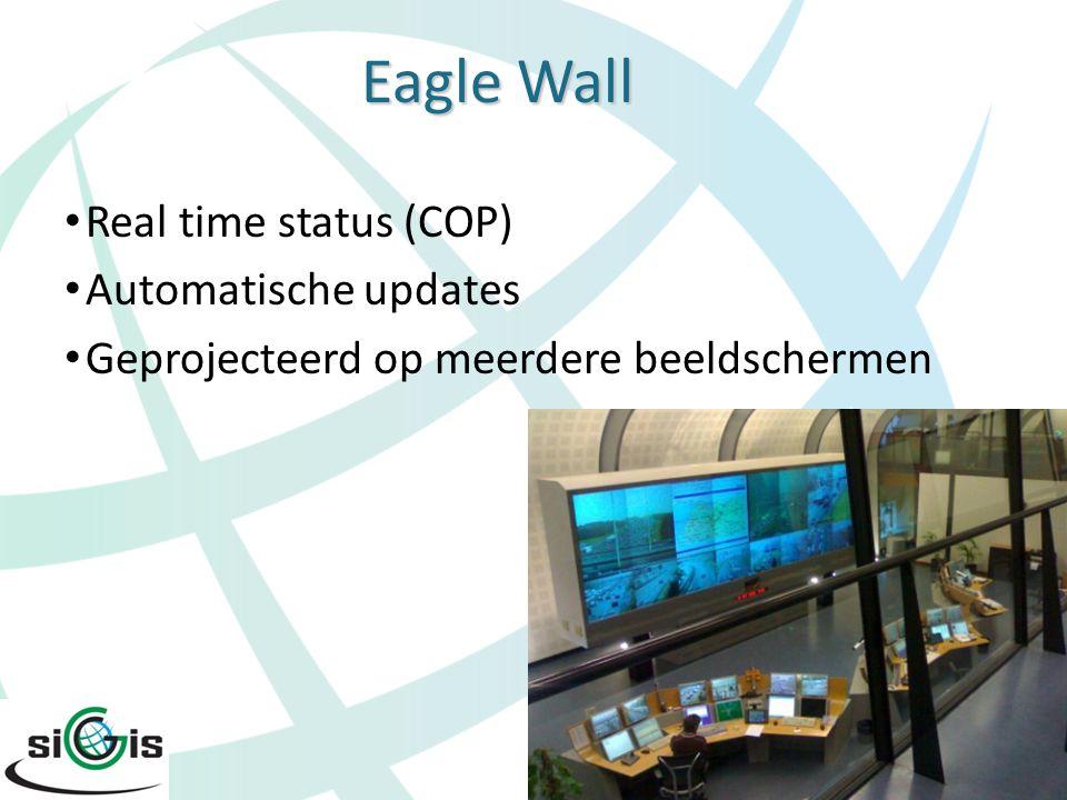 Eagle Live Publiceren (deel van) COP op internet Publiceren (deel van) COP op internet Voor burgers en hulpverleners Voor burgers en hulpverleners Up-to-date Up-to-date Read-only viewer Read-only viewer Zowel 2D als 3D Zowel 2D als 3D ArcGIS Server ArcGIS Server en Bing Maps en Bing Maps