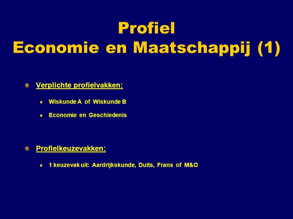 Profiel Economie en Maatschappij (2) Vrije deel (1 vak kiezen uit ): Aardrijkskunde, Duits, Frans, Kunstvak ( Beeldende Vorming, Muziek of Drama ), M&O of Biologie ( mits er geen Duits is gekozen ).