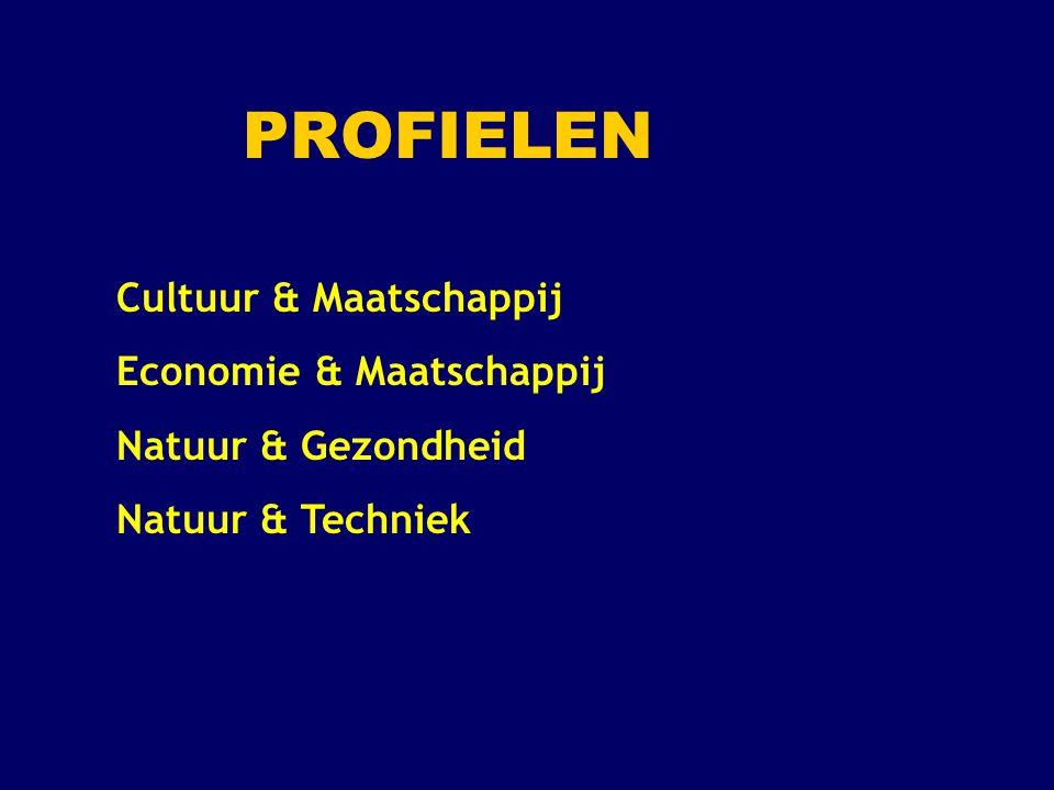 Profiel Cultuur en Maatschappij (1) Verplichte profielvakken: 2 e MVT ( Duits of Frans ) en Geschiedenis Profielkeuzevakken: 1 keuzevak uit: Duits, Frans of Kunstvak ( Beeldende Vorming, Muziek of Drama ) en 1 keuzevak uit: Aardrijkskunde of Economie