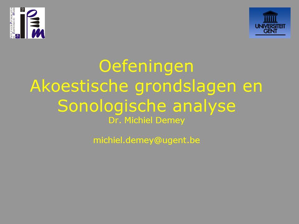 Les 9 Oplossing taak Sonogram –Audacity –GroteKlok –FFT resolutie vs tijdsresolutie –Voorbeelden uit de praktijk –Taak