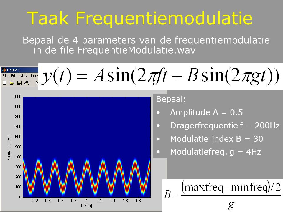 Sonogram in Audacity Vb FrequentieModulatie.wav Standaard is golfvorm Spectrum selecteren