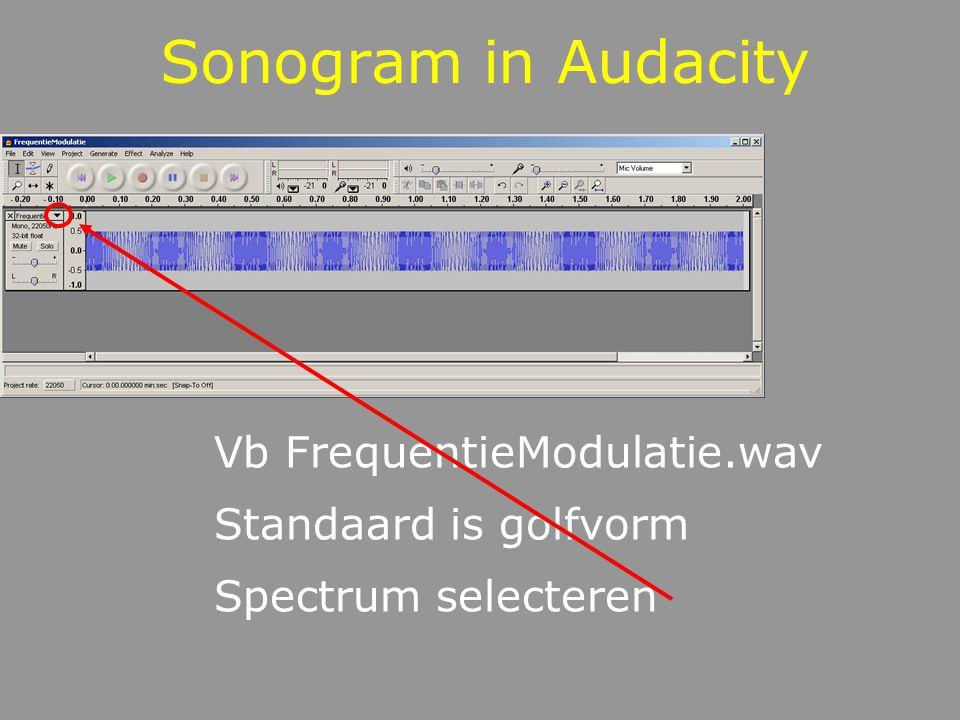 Sonogram in Audacity Stel nauwkeurigheid in bij Edit -> Preferences -> Sonogram Toont frequentie doorheen de tijd FFT Size = nauwkeurigheid frequenties Maximum Frequency neem 2000Hz