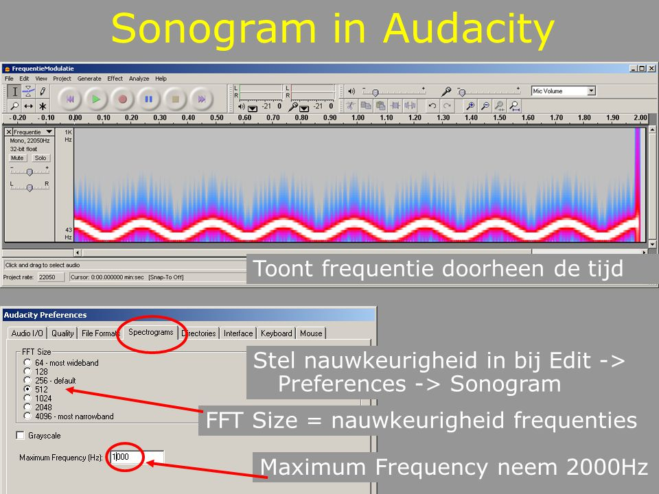 Grote Klok Open de sample GroteKlok.wav in audacity en luister Verander de nauwkeurigheid van de FFT en bestudeer het spectrum Selecteer enkel de eerste slag en maak hiervan een nieuwe wav file Importeer die file in Matlab en maak het sonogram Zet de nauwkeurigheid op 4096 (VensterLengte) makesonogram_v2.m Expliciet mono!