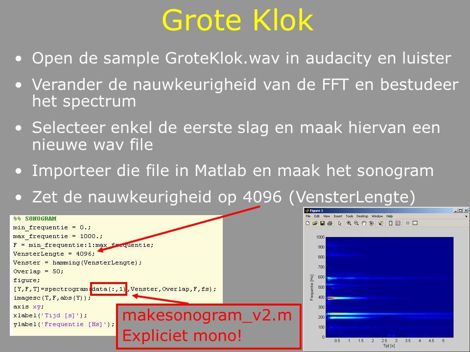 Grote Klok Bepaal de verschillende frequenties (harmonisch of inharmonisch tooncomplex?) Interpreteer het sonogram