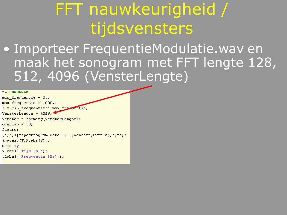 FFT resolutie / tijdsresolutie 128 512 4096 Goede tijdsresolutie Slechte frequentieresolutie Slechte tijdsresolutie Goede frequentieresolutie Afwegen!