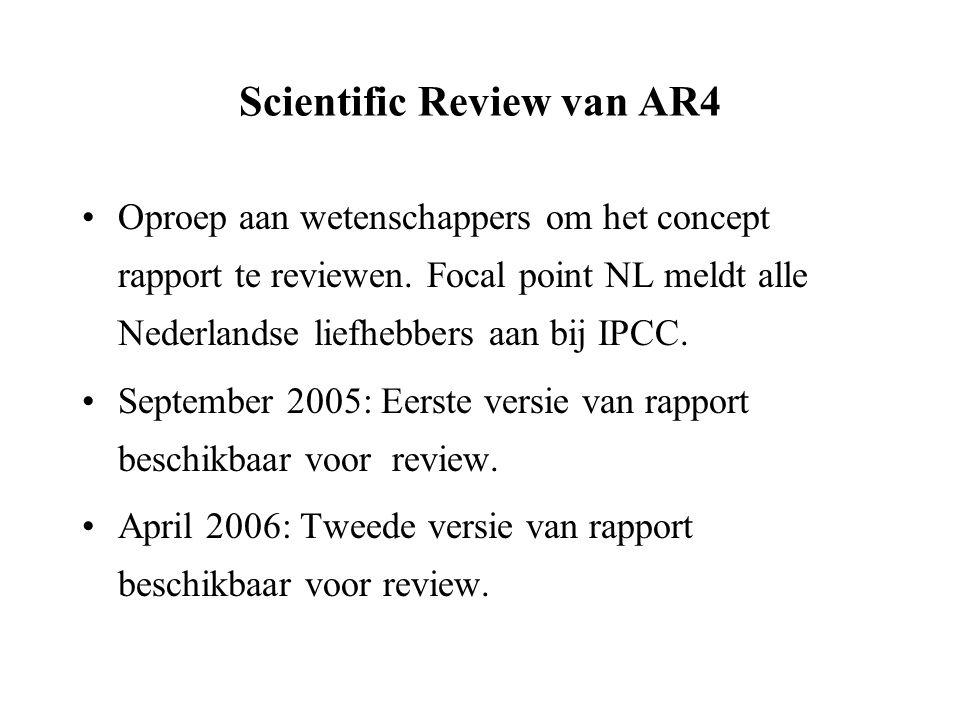 Government Review van AR4 Focal Point verzamelt Nederlandse commentaren van overheden en instellingen en stuurt deze in.