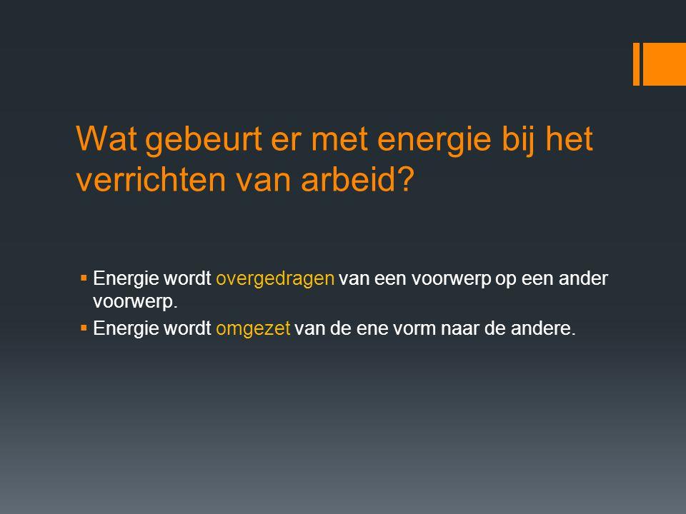 Definitie en eenheid van energie  Met woorden: De hoeveelheid energie die overgedragen of omgezet wordt, is gelijk aan de arbeid die verricht wordt.
