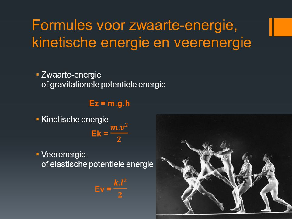 Behoud van mechanische energie E z = max, E k = min E z = min, E k = max Bij het verrichten van arbeid kunnen verschillende vormen van energie in elkaar worden omgezet zonder energieverlies, indien we geen rekening houden met wrijvingskrachten.