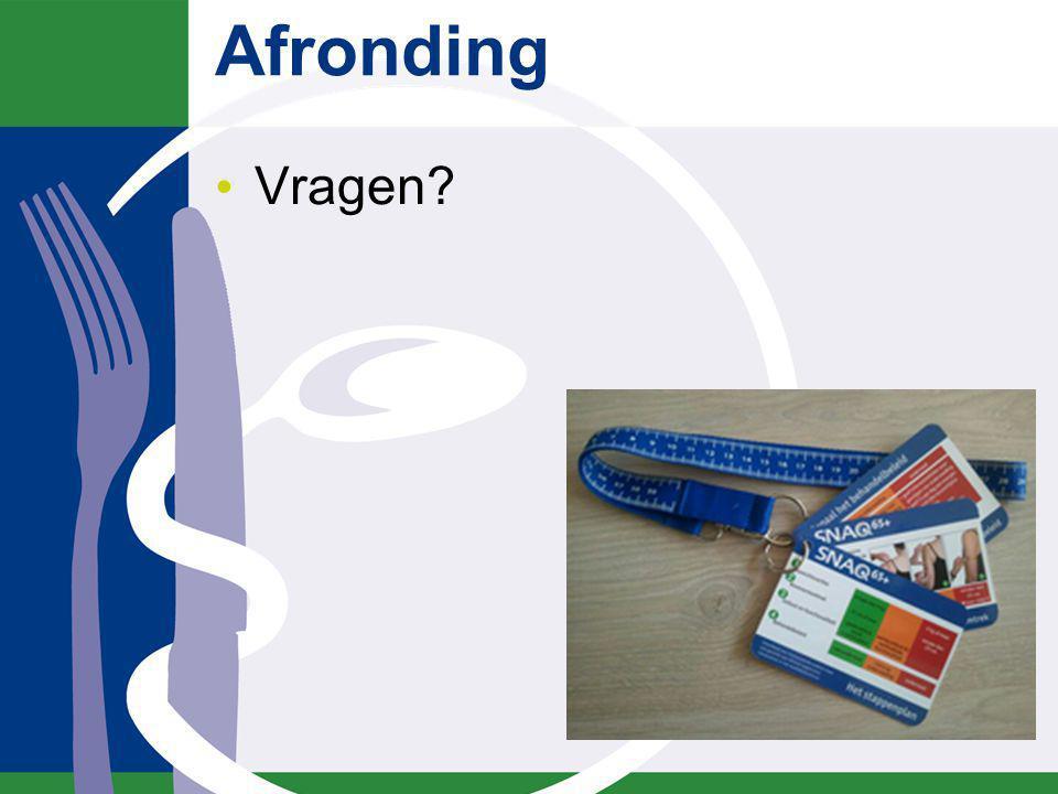 Literatuur www.stuurgroepondervoeding.nl Hertroijs D., Wijnen C., Leistra E., Visser M., Heijden van der E., Smaale J., Kruizenga H.