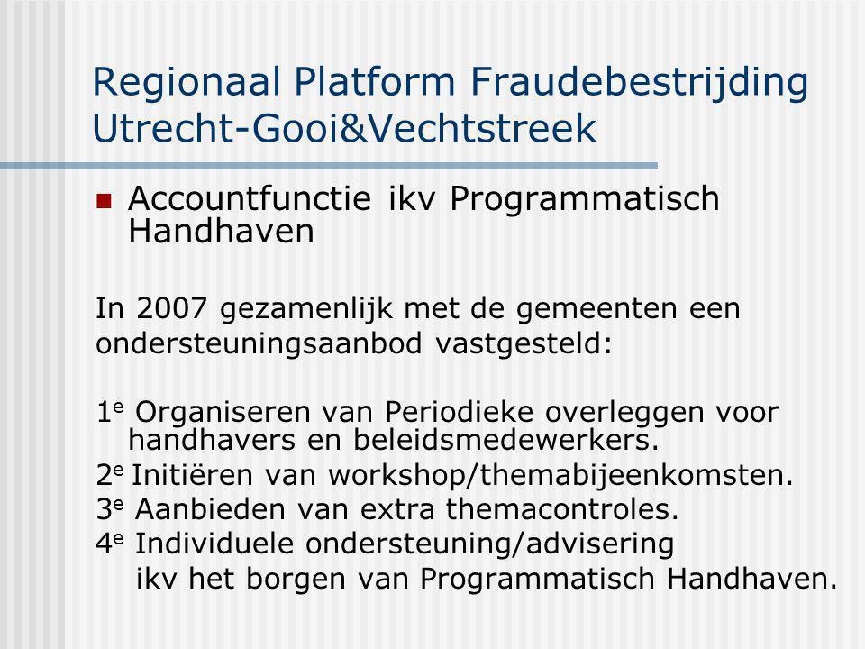 Opbrengsten Projecten Regio Utrecht - Gooi&Vechtstreek (september 2009) Financieel Belastingdienst21,2 Arbeidsinspectie 1,9 SVB 1,1 UWV 2,9 Gemeenten (wwb) 4,5 Totaal: 31,6 miljoen Maatschappelijk Rechtvaardigheid Verbetering van concurrentieverhoudingen Verbetering gevoel van veiligheid, woon- en leefklimaat Illegale arbeid, te vervangen door legale (via CWI / WWB) Illegale huisvesting, die weer regulier wordt Als één optredende overheid Woningen terug in woonvoorraad Wijzigingen in Gba
