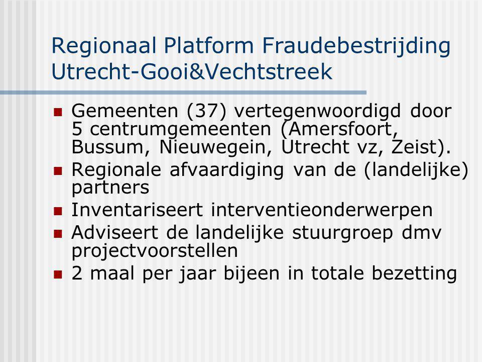Regionaal Platform Fraudebestrijding Utrecht-Gooi&Vechtstreek Accountfunctie ikv Programmatisch Handhaven In 2007 gezamenlijk met de gemeenten een ondersteuningsaanbod vastgesteld: 1 e Organiseren van Periodieke overleggen voor handhavers en beleidsmedewerkers.