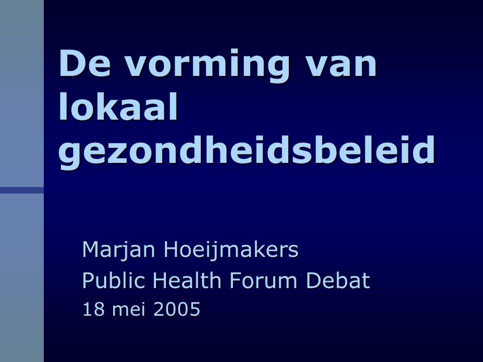 Onderzoek naar lokaal gezondheidsbeleid  Samenwerking tussen GGD-NML en Universiteit Maastricht  Multiple case studie in vier gemeenten in Midden Limburg  Inzicht verkrijgen in de factoren en actoren, die van belang zijn in het beleidsproces