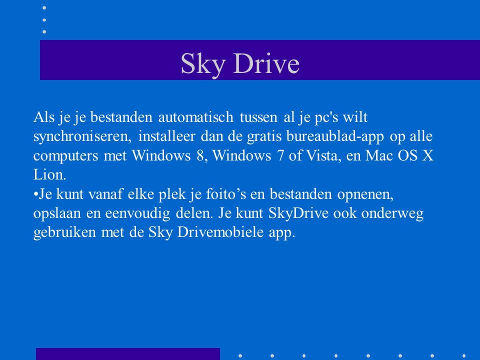 Microsoft en Skydrive Microsoft heeft nieuwe features aangekondigd voor SkyDrive, die het voor gebruikers gemakkelijker moeten maken om samen aan Office- bestanden te werken die opgeslagen zijn op de cloudopslagdienst.