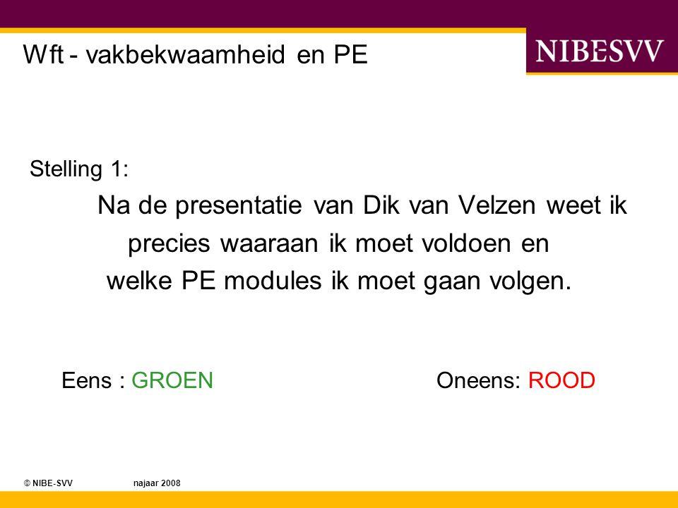 © NIBE-SVV najaar 2008 Wft - vakbekwaamheid en PE Wat u moet gaan doen van de Wet, is nu dus bekend.