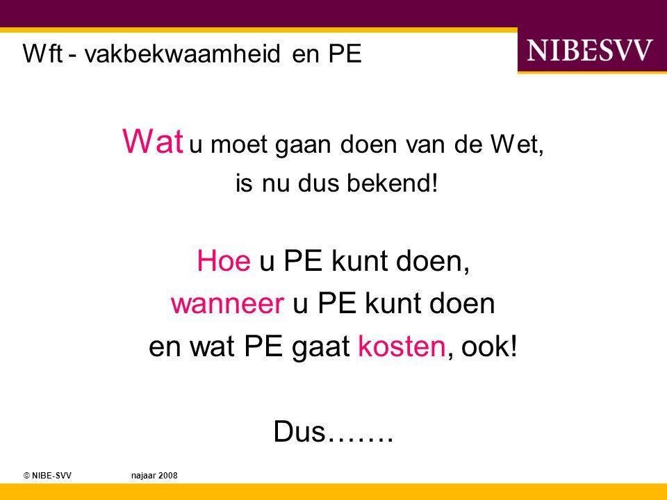 © NIBE-SVV najaar 2008 Ons uitgangspunt Wij gaan er voor zorgen dat u Wft PE Proof bent, wordt, blijft !