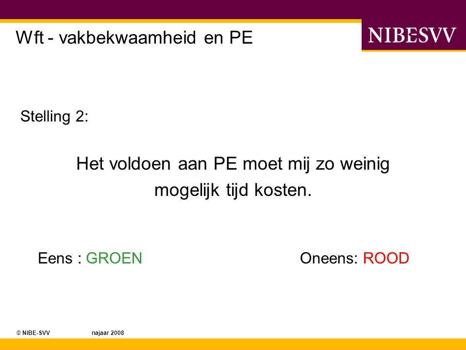 © NIBE-SVV najaar 2008 Wft - vakbekwaamheid en PE Stelling 3: Als ik dan toch PE moet doen, dan het liefst klassikaal.