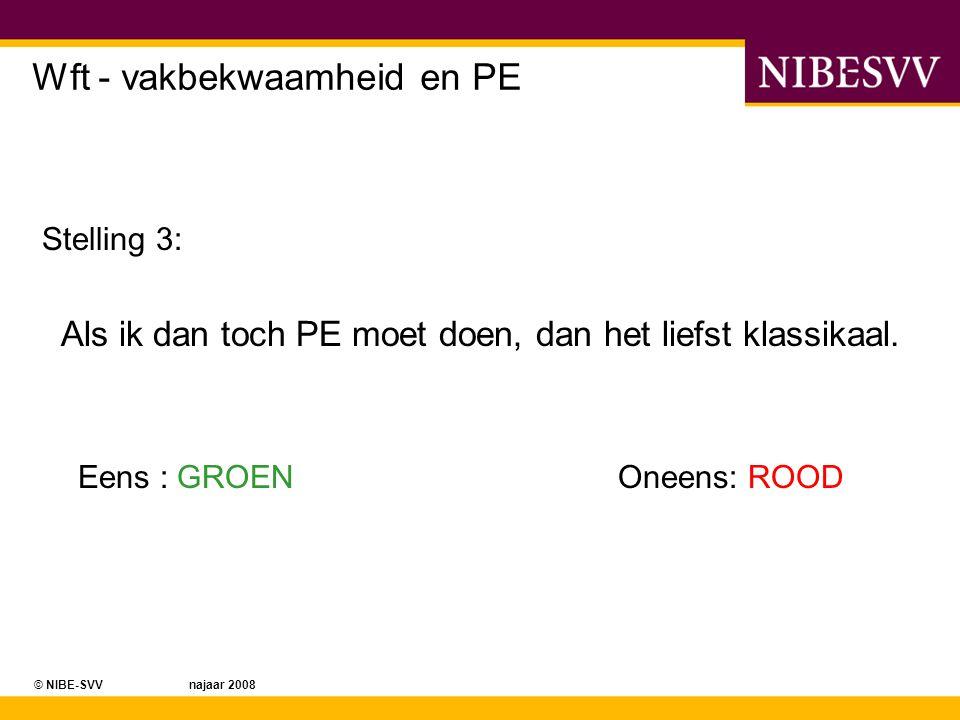 © NIBE-SVV najaar 2008 Wft - vakbekwaamheid en PE Stelling 4: Alles wat PE is, weet ik al, ik doe net zo lief meteen een examen.