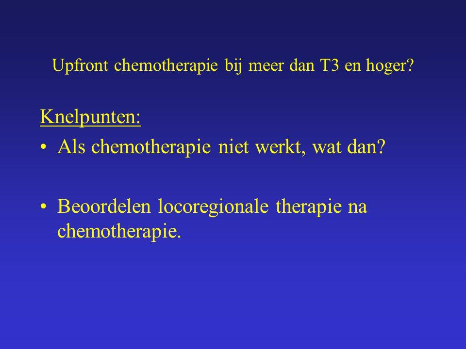 Upfront chemotherapie bij meer dan T3 en hoger.Knelpunten: Als chemotherapie niet werkt, wat dan.
