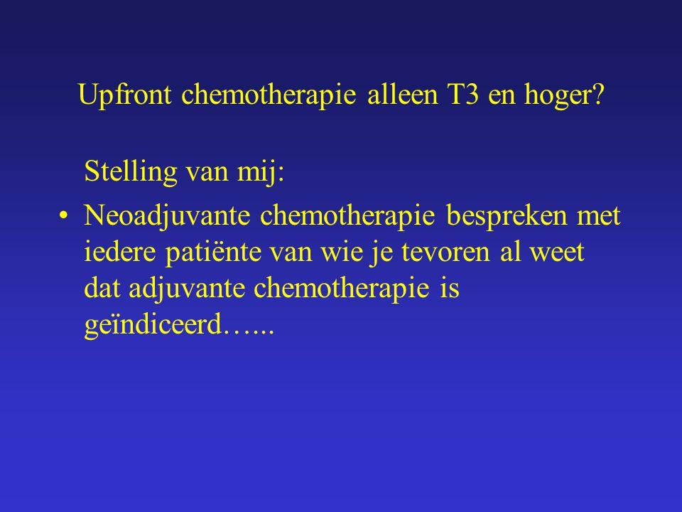 Upfront chemotherapie alleen T3 en hoger.