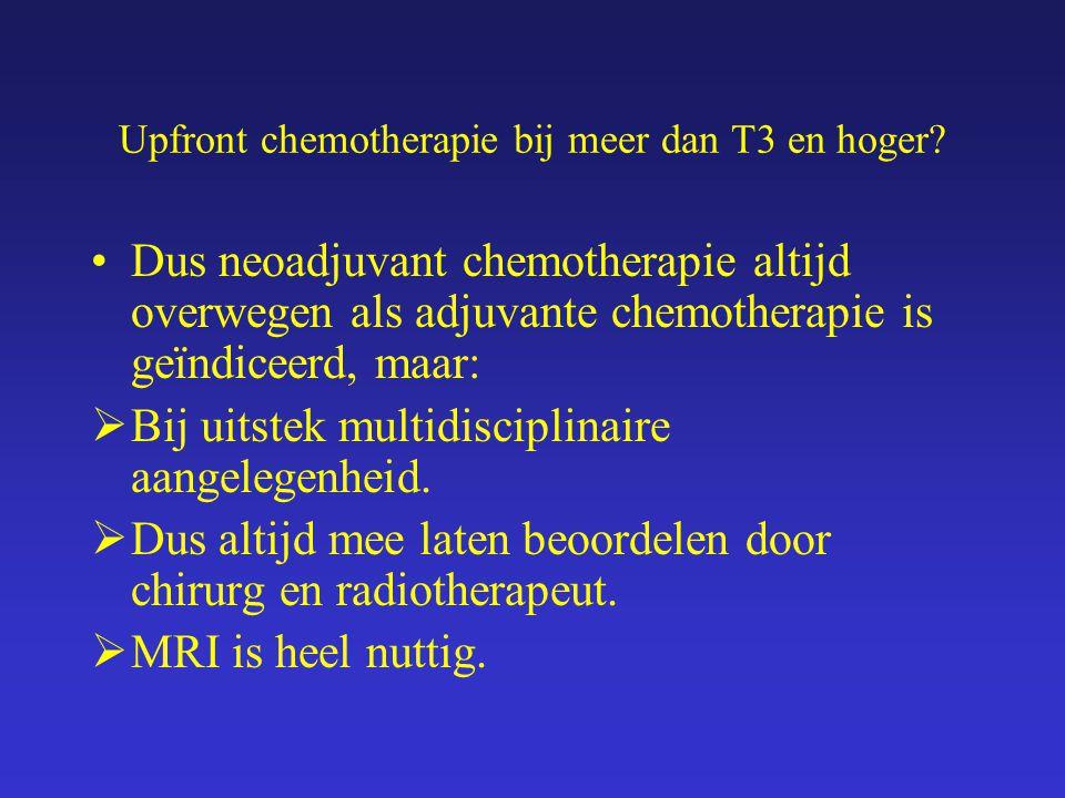 Upfront chemotherapie bij meer dan T3 en hoger.En de patiënte.