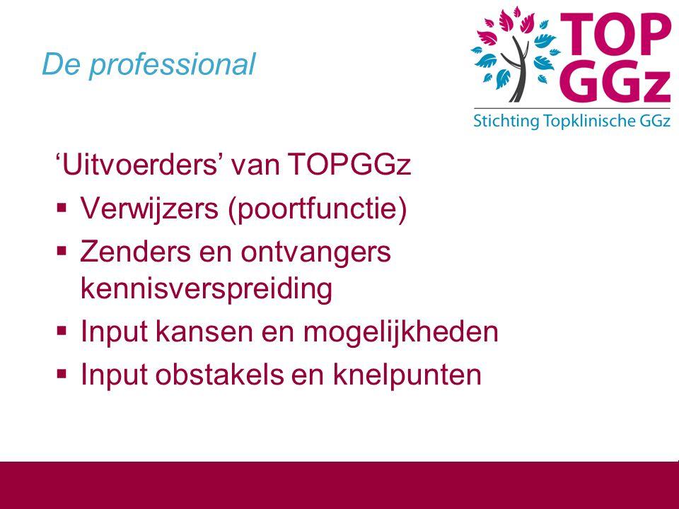 GGZ Nederland  Profilering/ faciliteren van 3 e segment binnen de ggz  Samenwerking en input: voor alle doelgroepen TOPGGz functie beschikbaar