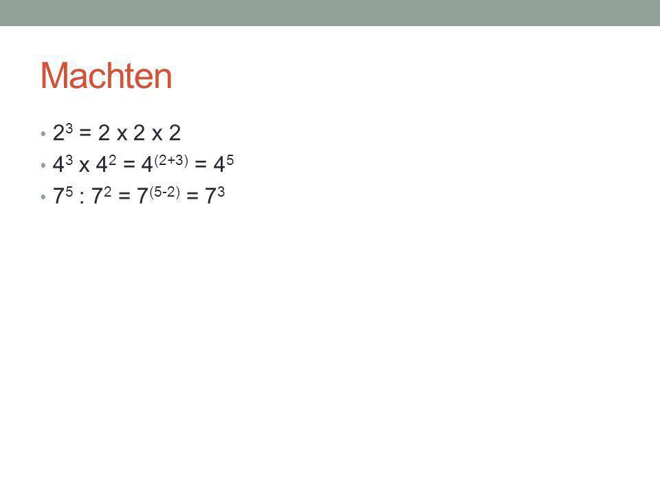 Hetzelfde grondtal – delen 3 2 : 3 6 = = = 3 (2-6) = 3 -4 = 1/3 4 = 1/81 7 3 : 7 3 = 7 (3-3) = 7 0 = 1 (3 x 3) (3 x 3 x 3 x 3 x 3 x 3)