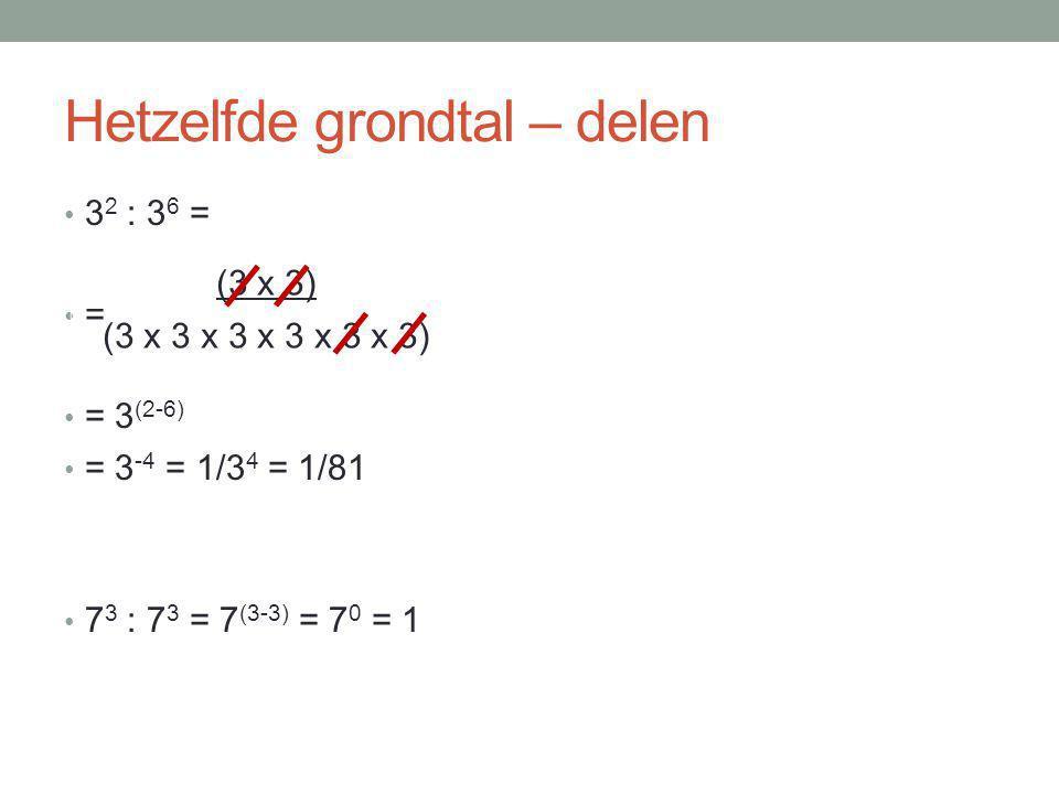 Machten 2 3 = 2 x 2 x 2 4 3 x 4 2 = 4 (2+3) = 4 5 7 5 : 7 2 = 7 (5-2) = 7 3 5 -2 = 1/5 2 8 0 = 1