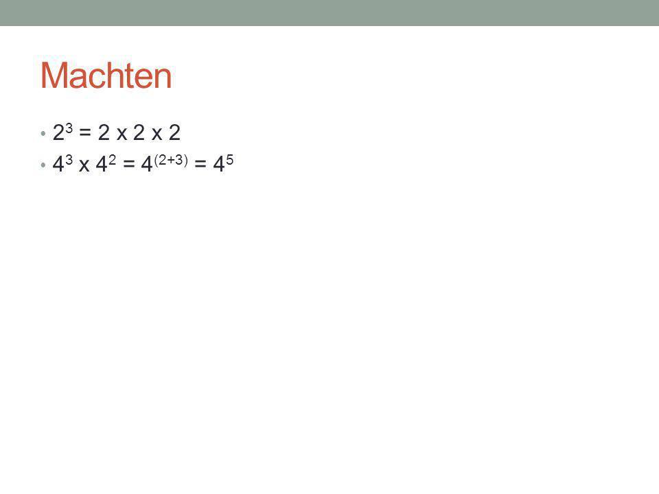 Hetzelfde grondtal – vermenigvuldigen 0,3 2 x 0,3 4 = 0,3 6 2 3 x 2 4 x 2 2 = 2 (3+4+2) = 2 9 2 3 x 3 7 x 2 4 = 2 3 x 2 4 x 3 7 = 2 (3+4) x 3 7 = 2 7 x 3 7