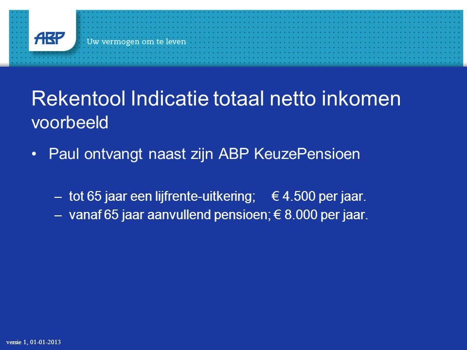 20 Berekening indicatie totaal netto inkomen (aanvullen met eigen gegevens) versie 1, 01-01-2013