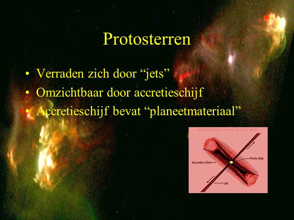 6 protosterren Sterren ontstaan in de omgeving van sterren Bij voldoende druk, massa, temperatuur en stabiliteit (dus niet zoals hier op de foto) onstaat er kernfusie Druk = diameter x gravitatieversnelling Temperatuur is recht evenredig met de druk